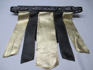 Black/Gold Leather  Gladiator Spanking and Bondage Skirt (Front & Rear Panel Design)